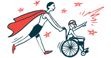 rare disease clinical trial participants | Cushing's Disease News | Illustration of woman in cape pushing child in wheelchair